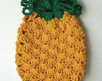 Crochet Pineapple PotHolder Fruit Potholder Pineapple Hot Pad Kitchen Decor Crochet Cotton Fruit Potholder Decor Housewarming Gift
