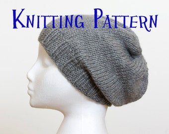 Instant Download PDF Knitting Pattern - Slouchy Beanie, Hat Knitting Pattern, Slouch Hat Instructions, DIY Knit Hat