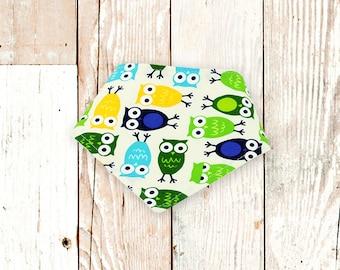 Baby Bandana Bibs (Blue/Green Owls)     bibdana, baby shower gift, drool bib, dribble bib, drool bandana, special needs bib, bibdanna