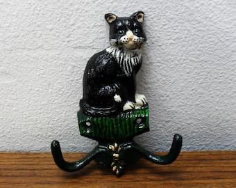 Vintage Metal Cast Iron Painted Cat Hooks