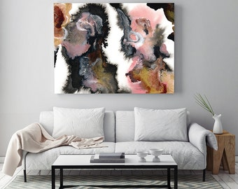 "Abstract Art ""Reflections"" by Jules Tillman Fine Art Lustre Print modern abstract watercolor painting white rose quartz pink gold black"
