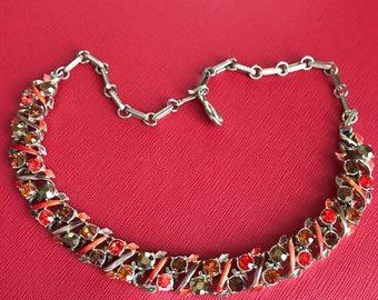 Gorgeous vintage necklace with orange, browns & red stones