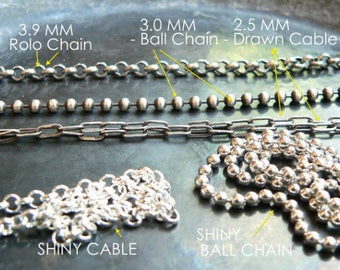 """Men's CHAIN Choice - Sterling Ball Chain vs. Sterling Mens Cable Chain, Drawn Rectang. Link, Oxidized, 22""""."""