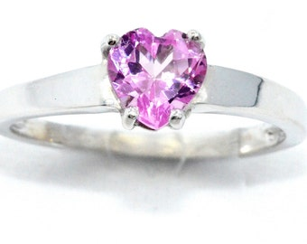 1 Carat Pink Sapphire Heart Ring .925 Sterling Silver Rhodium Finish