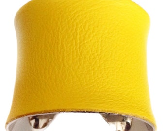 Bright Yellow Leather Silver Lined Cuff Bracelet - by UNEARTHED