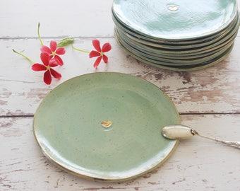Cake plate, Set of 6  turquoise ceramic plates, dessert modern plate, Small ceramic serving dish, ceramic dinnerware