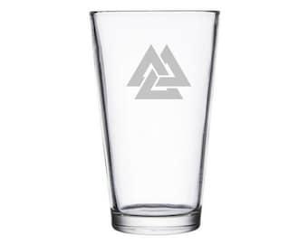 Valknut etched glass, Odin's symbol, Viking warrior symbol, Asgard, Norse symbols, Viking symbols, Viking gift presents, Norse mythology