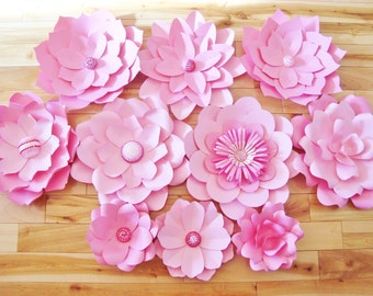 Set of 10 Paper flowers - Paper flower backdrop, paper flower wall, paper flower wedding, paper flowers for nursery, paper flowers