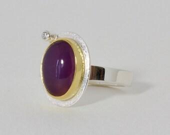 Chalcedon und Diamant-Ring, Sterling Silberring mit Holley Lavendel Chalcedon In 22 k Gold mit Diamanten Akzent, Flieder Chalcedon