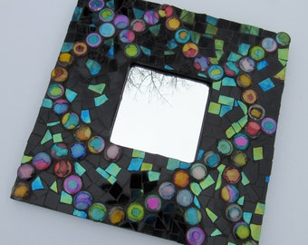 Black and Multicolored Tile Framed Mirror-mosaic mirror-mosaic art-framed mirror-mosaic wall hanging-unique wall decor-housewarming gift