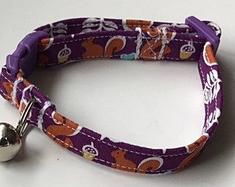 Purple Squirrel Cat Collar with Breakaway Buckle and Bell