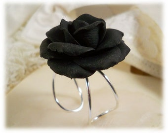 Large Black Rose Ring - Black Rose Jewelry, Black Flower Ring