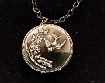 Watch Necklace Decree Watch Pendant with Flower Bird Butterfly Motif on Brushed Silvertone Chain