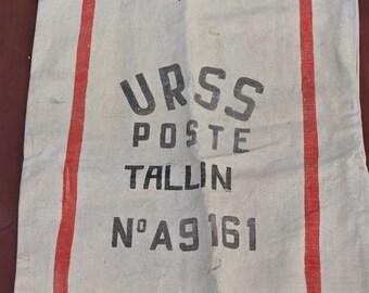 Vintage post bag HUGE Soviet vintage post bag Post sack Mail bag TALLINN ESTONIA Postal service bag Vintage postal bag Ussr post sack bag