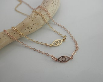 Tiny vermeil  evil eye necklace with  14K goldfilled chain