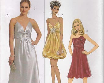 Formal Dress Pattern Lined Short and Long Prom Bridesmaid Misses Size 8 - 10 - 12 - 14 Uncut Butterick 5323