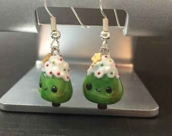 Kawaii Christmas Tree Popsicle Earrings