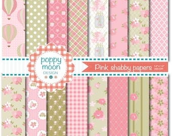 Pink Shabby chic style,printable digital paper pack