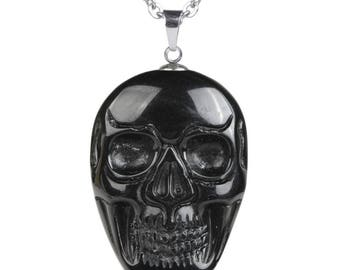 34-36mm Black obsidian carved skull pendant focal bead (pendant only)