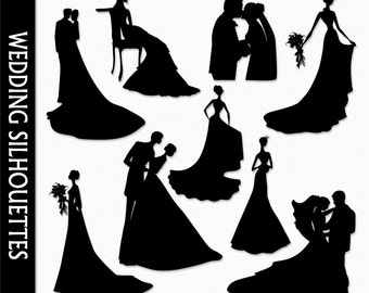 Wedding Clip Art Graphic Marriage Clipart Digital Scrapbook People Bride Groom Dress Silhouette Download PNG Vector Commercial Use
