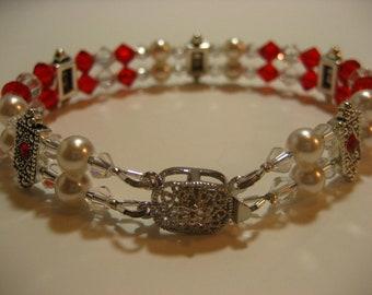 Red Hot Bracelet -- Double Strand Swarovski Elements Bracelet