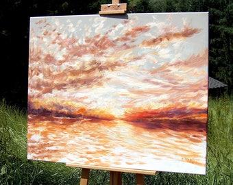 "SUNSET Landscape oil painting on canvas  31"" x 39""  by Łukasz Dziedzic MODERN Art Painting Oil Canvas Sunrise Sun painting Yellow Art"