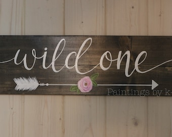 SALE Wild one wood painting