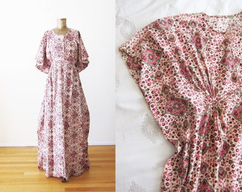70s Indian Maxi Dress - Indian Cotton Dress - Vintage Caftan - Floral 1970s Kaftan Maxi Dress - Bohemian Clothing - Block Print - S M