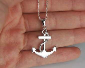 Anchor Necklace, Sterling Silver Ball Chain, Nautical Necklace, Sailor Necklace, Birthday Gift
