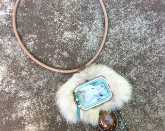 White Wolf Spirit Necklace - Native American Inspired - Gemstone Healing Energy - Bead Embroidery Jewelry Art - Wolf Spirit Guide