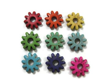 Extra Large 29mm  Howlite Gear Beads Set of 2 You Choose the Color