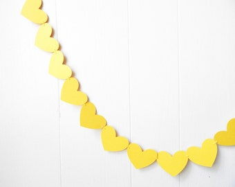 Yellow Heart Garland / Wedding Decoration / Love Bunting / Anniversary Decor / Photo Prop / Adjustable Hand Sewn
