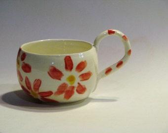 Ceramic Coffee Mugs with Red and Yellow Dasies Handmade