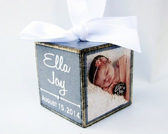 Baby's First Christmas Ornament in Soft Grey, Personalized Photo Block Ornament Keepsake, Photo Ornament