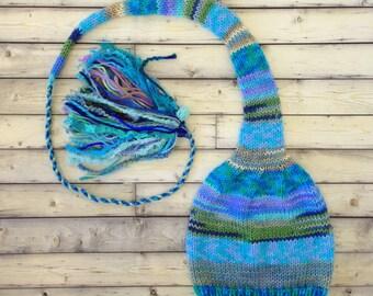 Girl Women Stocking Cap, Knit Long Tail Tassel Hat, Aqua Blue Green Stripe Winter Toque, Kid Adult Ski Skater Multicolor Beanie, Unique GiFT