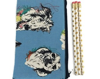 Pencil Pouch - Makeup Bag - Zipper Pouch - Cosmetic Bag - Zipper Clutch - Pencil Bag - Pencil Case - Gadget Bag in Scribble Dog