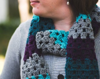 Cozy colorful crocheted scarf