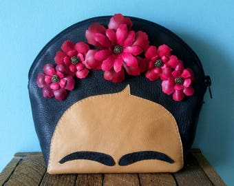 Frida Purse, Leather Purse, Evening Bag, Diego Rivera, Casa Azul, Flower Purse, Mexico, Mexican Artist, Leather Bag, Fridamania