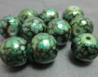 Glass Beads Green and Black Bead Marbled Beads 8mm 20/50/100 3776