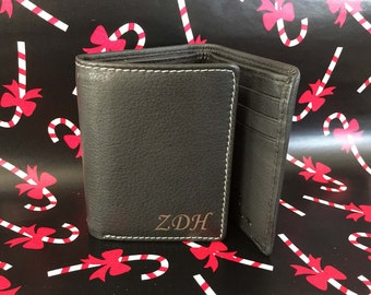 Holidays gift , Retirement gift - Men Leather Wallet Personalized Trifold Wallet, Engraved Wallet ,Custom Genuine Leather Black Wallet