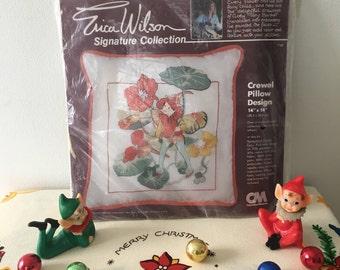 Vintage Erica Wilson Flower Fairy Crewel Pillow Design