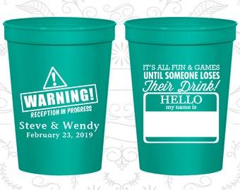 Wedding Cups, Plastic Cups, Stadium Cups, Personalized Cups, Custom Wedding Cups, Plastic Wedding Cups, Wedding Favors (C580)