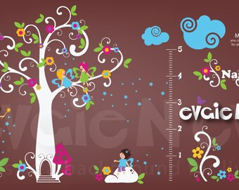 Large Fairy Wall Decal - Fairy Tree with Flowers, Stars with Matching Growth Chart  Wall Sticker - PLFT020