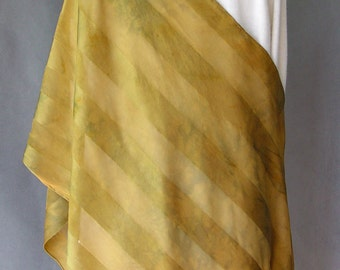 Hand Dyed Silk Scarf or Shawl - Satin stripes in Hot Metal design  Many variations in the color like metal when you heat it.  Unique