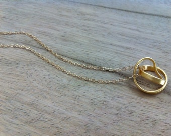 Dainty Gold Necklace, Simple Necklace, Minimalist Necklace, Minimalist Pendant, Delicate Necklace ,Infinity Gold Necklace, Everyday Necklace