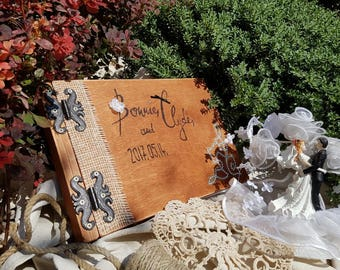 Wedding album, guest book .Rustic, recycled wood.
