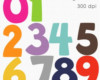 INSTANT DOWLOAD  Striped Numbers Scrapbook for Personal and Commercial Use