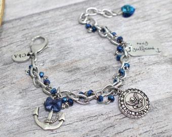Stainless Steel US Navy Girlfriend Charm Bracelet | USN Bracelet | Navy Girlfriend Jewelry | Navy Wife, Mother, Sister Bracelet | USN Girl