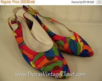 60% Off Memorial Day Sale Vintage 80s Bruno Magli Italian Shoes Slings Pumps Multi Colored Heels sz 7 1/2 AA