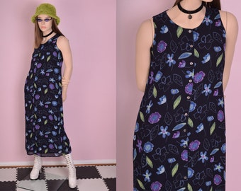 90s Floral Print Button Down Dress/ US 4/ 1990s/ Tank/ Sleeveless
